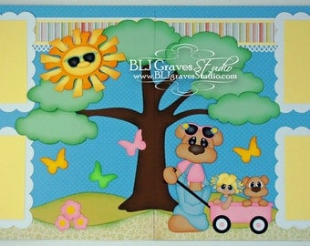 2 Premade Scrapbook Pages Summer Girl Bear Wagon 12x12 Layout Paper Piecing Handmade 81