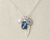 Angel Necklace with a Birthstone, Pearl and Initial Disc, Personalized Necklace, Silver Necklace, Angel Wing, Bridesmaid Gift,Wedding Gift