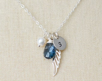 Gurdian Angel Necklace with a Birthstone, Pearl and Initial Disc, Personalized Necklace, Silver Necklace, Angel Wing, Bridesmaid Gift