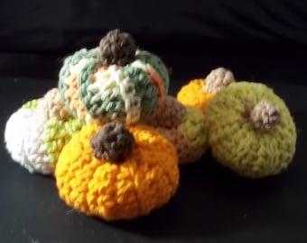 Colored Gourds/Pumpkins –Set of 6 -  Crochet – 100% Cotton - Various Colors