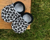 Baby Shoes for Boys - White with Little Black Elephants - Custom Sizes 0-3 3-6 6-12 12-18 18-24 months 2T 3T 4T