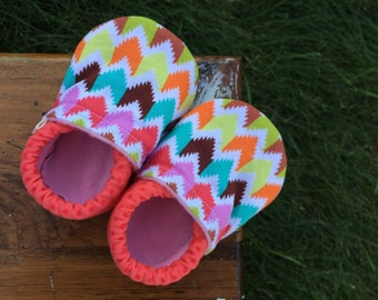 Baby Shoes for Girls - Multi-Colored Chevron with Coral Polka-Dot Fabric - Custom Sizes 0-24 months