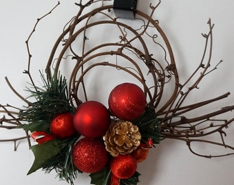 Holiday Swag Wreath, Rustic Home Decor, Office Decorations, Apartment & Small Spaces