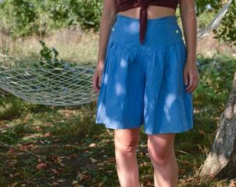 Blue Cotton Palazzo Shorts Vintage 90's