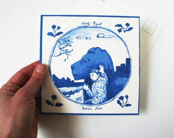 Animal lover gift. Travel art post card. City art print. Hipster gift. Montreal, Canada art post card. Lion art. Blue watercolor note card.