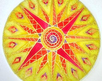 Solar Plexus Chakra mandala art, chakra art,sun mandala, spiritual gift,mandala art, spiritual art, meditation art, reiki art, healing art
