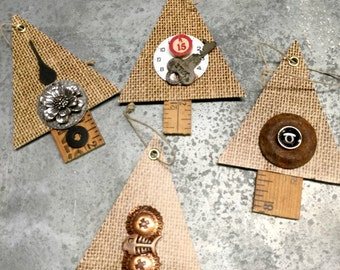 Christmas Ornament Rustic Chipboard Trees