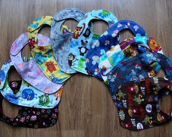 3 x Baby Bib Pack Adjustable/Reversible You Pick Colours