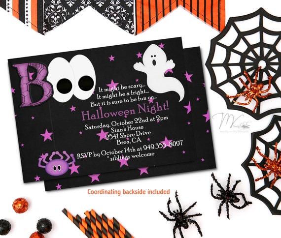 Ghost Halloween Birthday Party Invitation, Boo Halloween Costume Party Invitation, Spider Costume Party Invitation, Kids Halloween Party