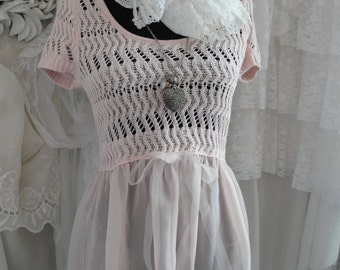 Lacey tulle top, ballerina pink, shabby chic, feminine, flowy romantic boho top