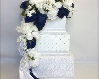 Wedding Card Box Navy White Lace Envelope Holder Wedding Card Holder Secured Lock Wedding Card Box Handmade
