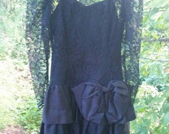Black Lace 80s Party Dress with huge bow.