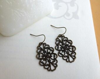 Filigree earrings- Antique bronze filigree earrings- Ornate filigree earrings- Lace filigree earrings- Oval earrings- Fashion earrings