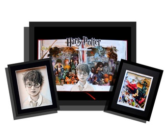 Harry Potter Book Sculptures - 3 pc wall grouping - 16x20x3 - 8x10x3 - 8x10x3 - Free Shipping