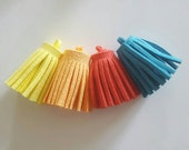 4pcs Faux Suede Tassel Tropical mix, Red, Yellow, Orange & Blue Charms - necklace, keyring or bag charm 35mm x 15mm