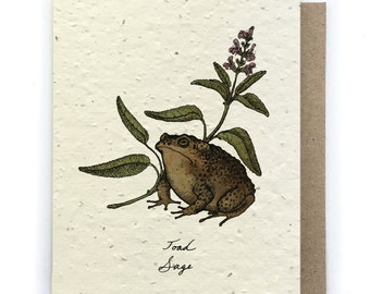 Toad/Sage Card - Plantable Seed Paper - Blank Inside