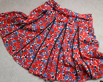 SALE Hobbs abstract red white blue black circles flippy linen skirt 18 ( US 14)