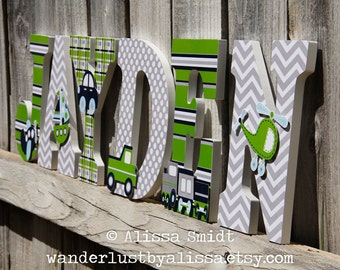 Custom Nursery Letters, Baby Boy Transportation Theme - (car, train, airplane, helicopter, sailboat truck, lime green, grey, gray, navy)