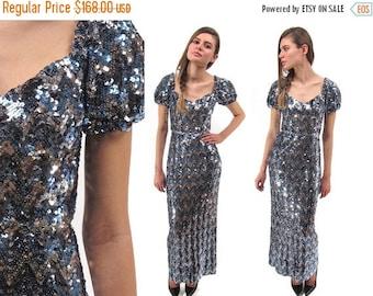 On Sale - Vintage 60s Dress, Sequins Dress, Glam Dress, Chevron Sequins Maxi Dress, Evening Dress, Party Dress, 60s Maxi Dress Δ size: xs /
