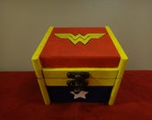 Custom Painted Wooden Keepsake Box - Wonder Woman
