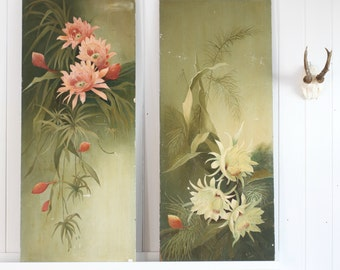 Pair Of Antique Handpainted Floral Panels Dated 1902, Botanical, Handpainted, Floral