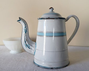 French Enamel Shabby 19th, antique enamel coffee pot - shabby chic french blue Strip enamelware - Enamel coffee pot - romantic