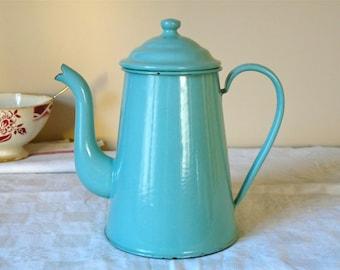 Vintage French Enamel Coffee Pot lovely french enamelware Celadon Green Cafe au Lait romantic cottage chic
