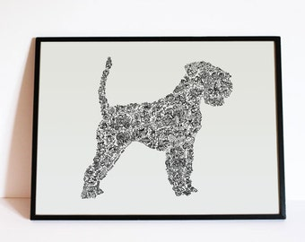 Schnauzer with tail - Dog Silouhette personnality - Hand signed - A4 / A3 - Art Print - gift for dog lover - hard to find dog poster