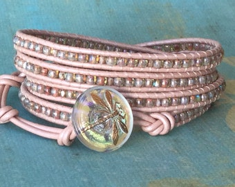 Leather wrap bracelet, pink, gold, pink leather wrap, boho, neutral,dragonfly