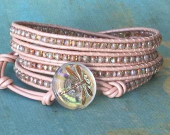 Leather wrap bracelet, pink, gold, pink leather wrap, boho, neutral,dragonfly