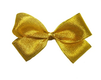 Large Shimmer Gold Metallic Grosgrain Hair Bow