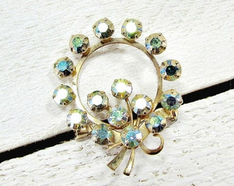 Vintage Aurora Borealis Rhinestone Brooch Pin, Blue Green AB Crystal Brooch, Gold Wreath Circle Brooch, 1950s Costume Jewelry, Gift for Mom