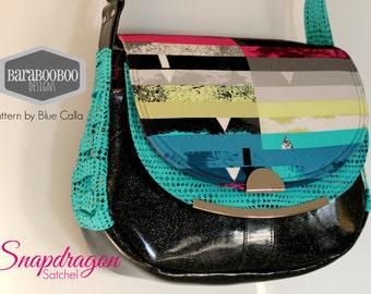 Snapdragon Satchel in Avantgarde by Katarina Roccella for Art Gallery and Black Glitter Vinyl, purse, bag, Cross Body, handbag