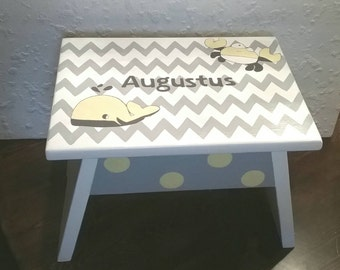 Whale and Crab Footstool - Crab Step Stool - Whale Footstool - Grey and Yellow Stool - Chevron Foot Stool - Bathroom Stool - Bedroom Stool