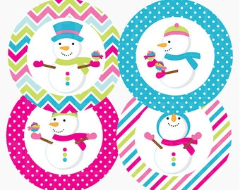 christmas tags cupcake toppers snowman winter - Frosty Friends Tags Printable