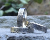 """The Woodsman"""" - handmade sterling silver wedding band - made to order - wood bark texture"""