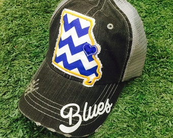 St. Louis Blues Hockey State Baseball Bling Ladies Womens Trucker Hat