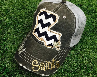 Louisiana State New Orleans Saints Baseball Bling Ladies Womens Trucker Hat