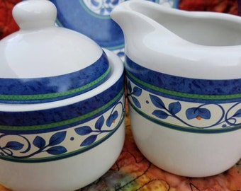 Pfaltzgraff Sugar Bowl & Creamer Orleans Pattern Blue and White Tuscany Coffee Set by AntiquesandVaria See The Orleans Listings We Have Now