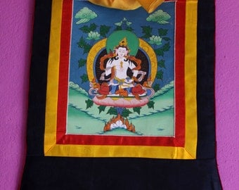 7.D187. Thangka Painting of Vajrasattva framed in a Silk Brocade-CLEARANCE SALE