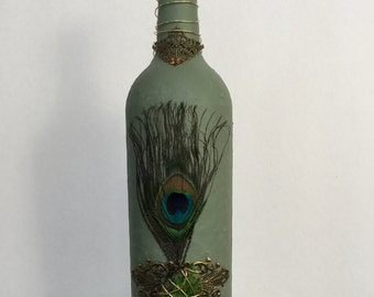 Peacock Feather And Jasper Gemstone Upcycle Wine Bottle, Vase, Diffuser Decor