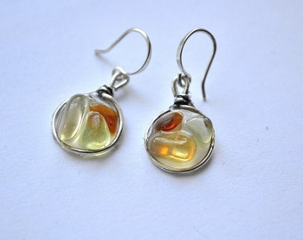 Golden Yellow, Amber and Green Genuine Sea Glass Silver Circle Resin Drop Mosaic Earrings
