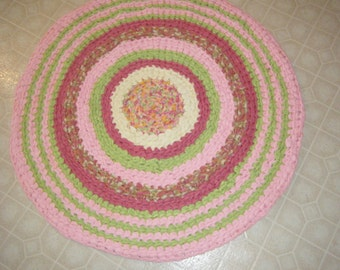 Handmade Pink and Lime Green Girly Rug\\Baby Girl Nursery Rug  - for Etsy