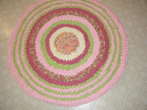 handmade pink and lime green girly rugbaby girl nursery rug