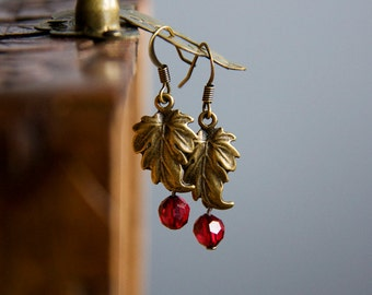 Leaf Earrings Red Drop Leaf Dangle Earrings Antiqued Bronze Leaves Vintage Style Everyday Earrings Nature Inspired Jewelry - E300