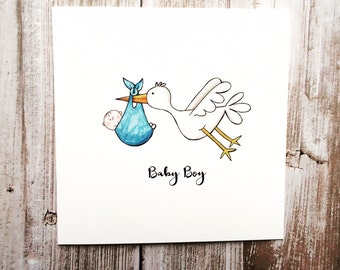 Baby Boy Stork Greeting Card