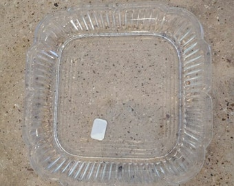 Glass Plate, Scalloped edge glass plate, Vintage Glass Plate, Small Platter, Square Platter, appetizers, nuts and cheese