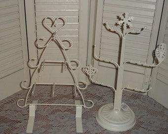 2 lot shabby white ornate jewelry, headband, scarf display stand organizer peg rack metal