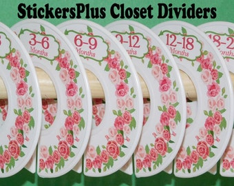Baby Closet Dividers Organizers Assembled or PreCut DIY Pink Rose Roses Flower Flowers Floral Wreath Girl Shower Nursery Gift CL045