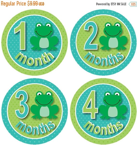 SALE Frog Baby Month Stickers Monthly Baby Milestone Stickers PRECUT Stickers Monthly Stickers Plus FREE Gift Boy Frogs Blue Green Dots